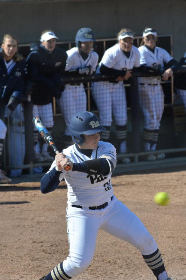 Senior catcher Giorgiana Zeremenko leads Pitt softball in most offensive statistics including home runs (7), batting average (.329) and on-base percentage (.407). (Photo by Kyleen Considine | Senior Staff Videographer)