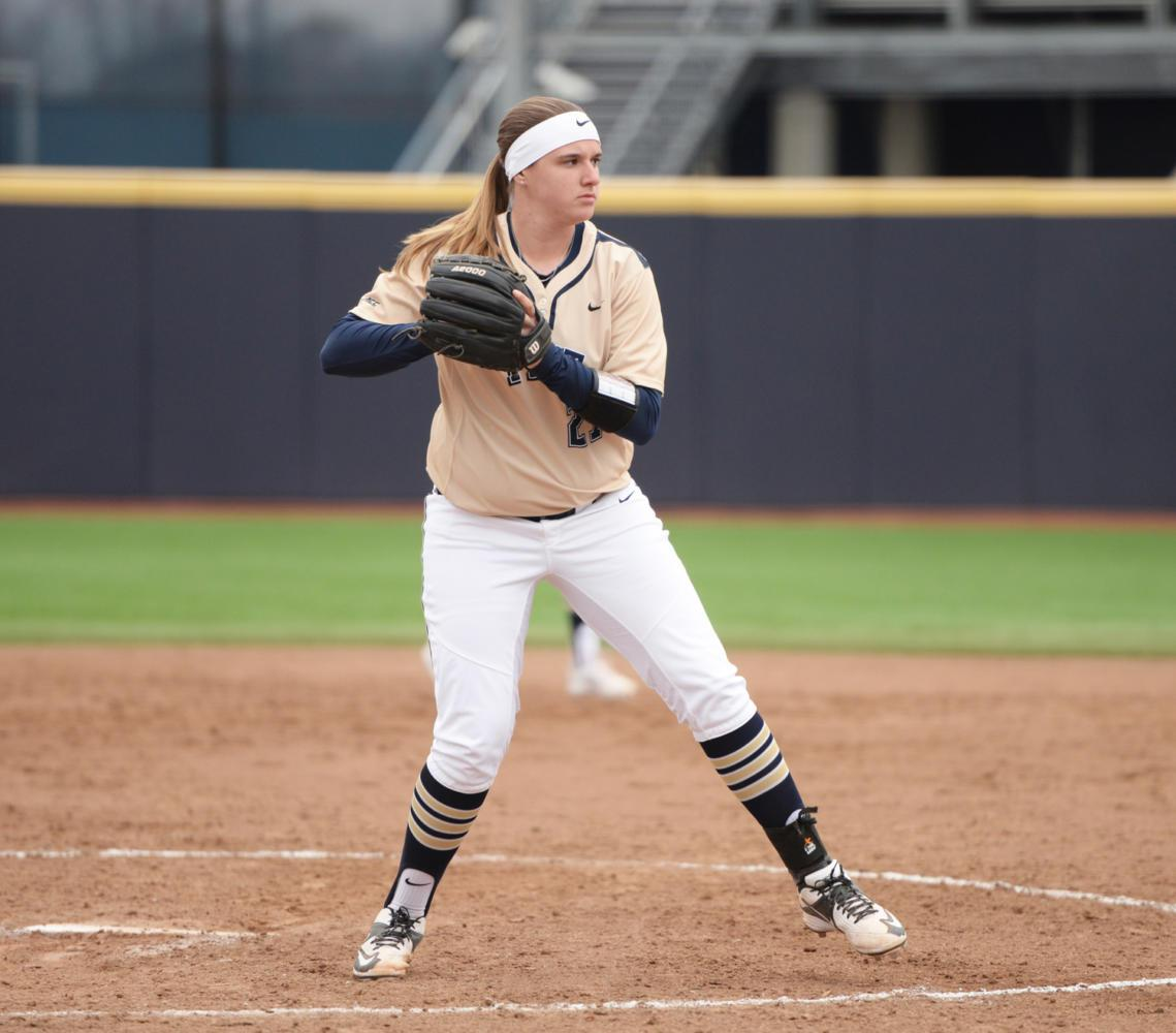 Senior pitcher Kayla Harris threw three shutout innings of relief during Sunday's 10-2 victory over North Carolina. (Photo by Matt Hawley | Staff Photographer)