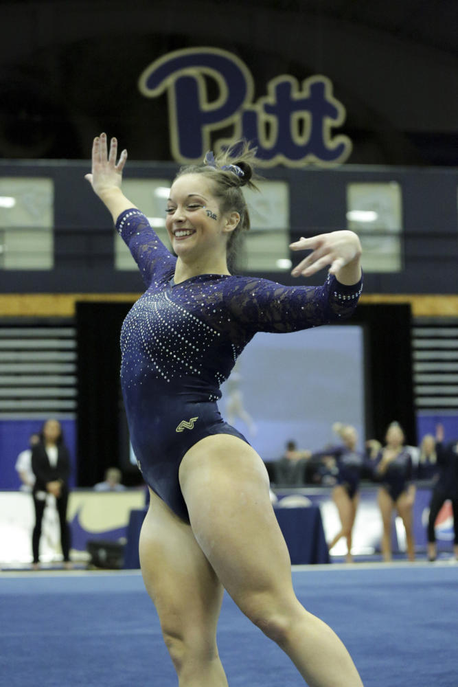 First year Haley Brechwald placed second on beam and fourth on floor during the Pitt gymnastic team's tri-meet in Washington, D.C., this past weekend. (Photo by Thomas Yang | Visual Editor)