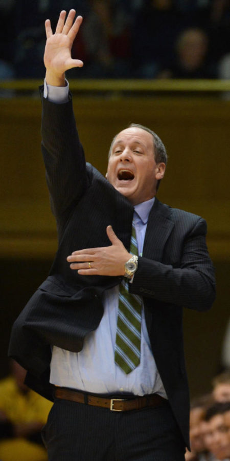 Vermont head coach John Becker calls out a play in the second half as the Duke Blue Devils beat the Vermont Catamounts 91-90 at Cameron Indoor Stadium in Durham, North Carolina, Sunday, Nov. 24, 2013. (Chuck Liddy/Raleigh News & Observer/MCT)