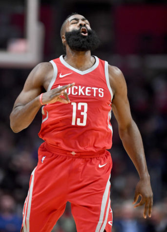 The Houston Rockets' James Harden celebrates a 3-pointer against the Los Angeles Clippers at the Staples Center in Los Angeles Wednesday, Feb. 28, 2018. (Wally Skalij/Los Angeles Times/TNS)