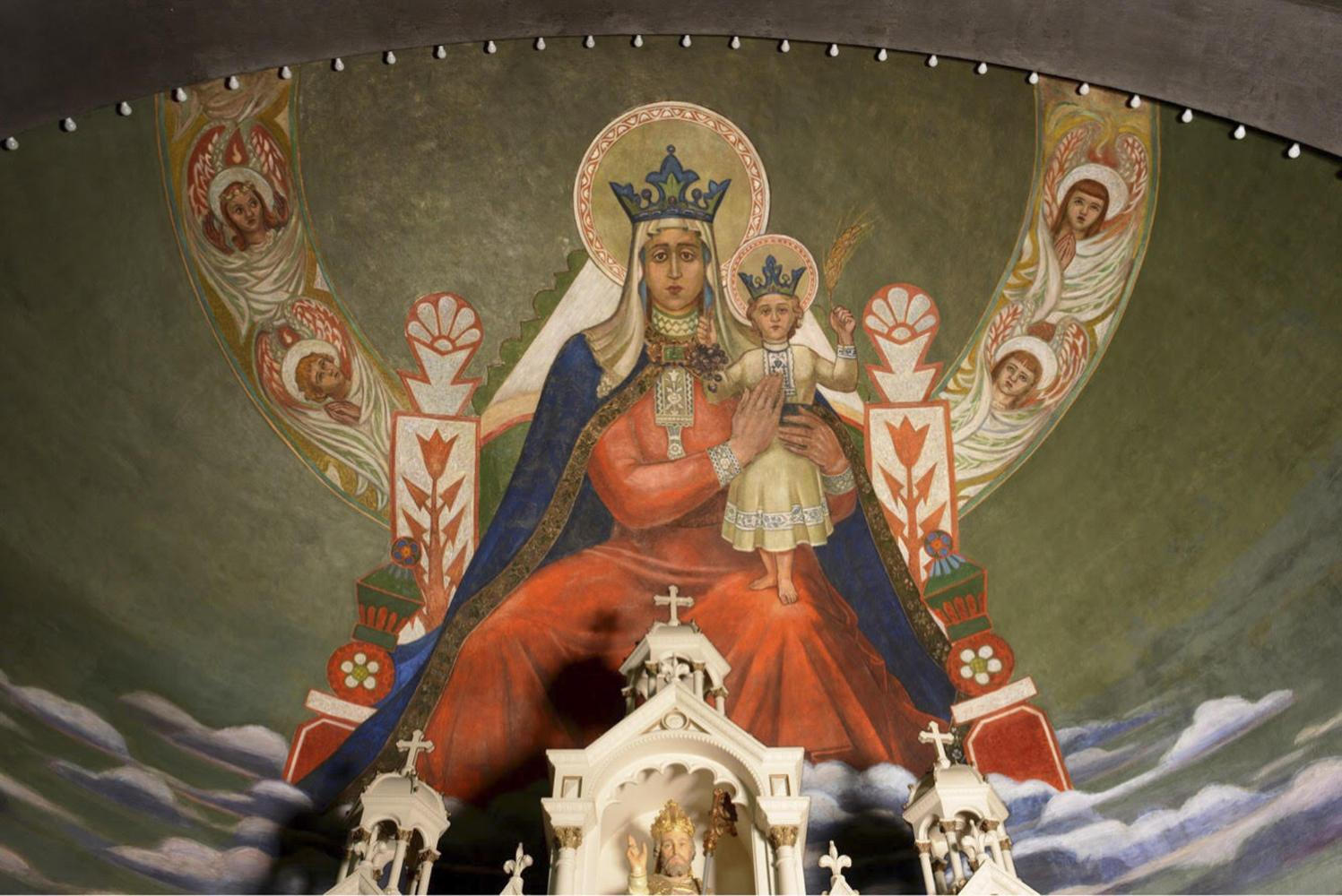 "The mural ""Mary, Queen of Croatians"" is one of many created by Croatian artist Maxo Vanka in the nineteenth century. (Photo courtesy of Rob Long)"