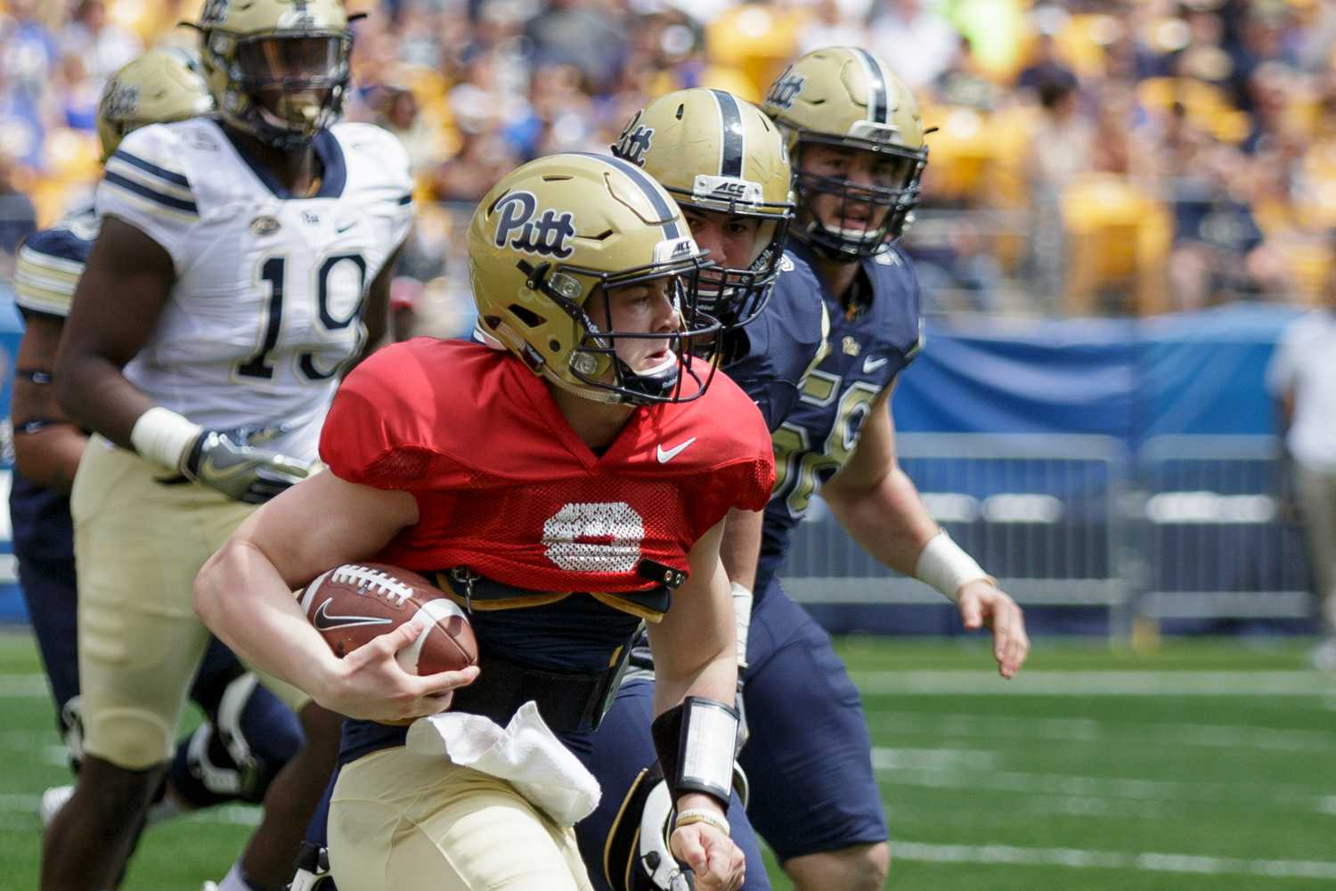 Kenny Pickett completed 13 of 23 passes for 140 yards and an interception in 2018's Blue and Gold Spring Game. (Photo by Thomas Yang   Visual Editor)