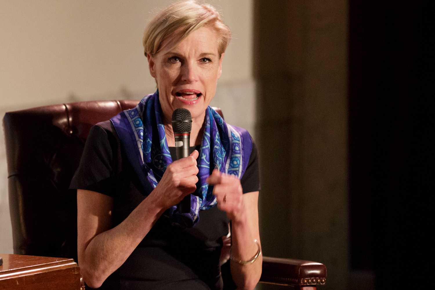 Planned Parenthood President Cecile Richards talks about her mother, former Texas governor Ann Richards, at the Carnegie Library Lecture Hall Wednesday night. (Photo by Thomas Yang | Visual Editor)