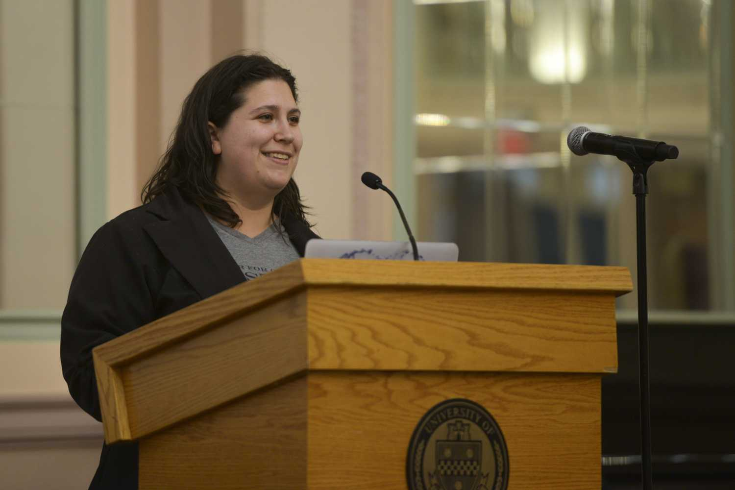 Veronica Coptis, executive director of the Center for Coalfield Justice, discusses environmental and labor issues at the Environmental Justice and Labor Rights event in the William Pitt Union Wednesday night. (Photo by Sarah Cutshall | Staff Photographer)