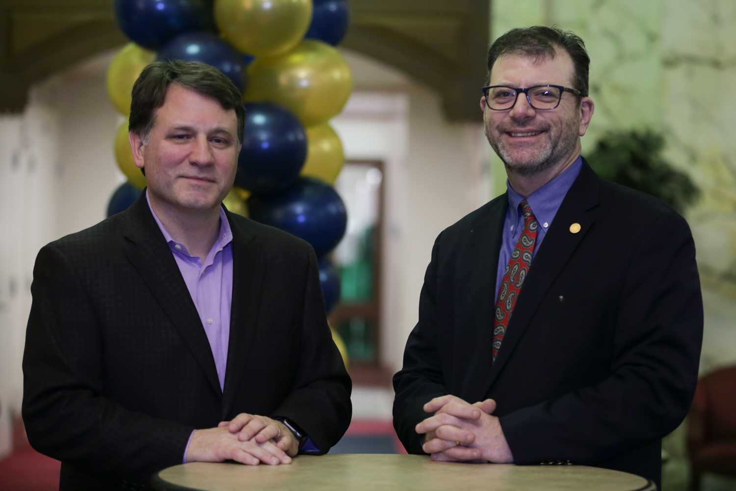 Randy Eager (left), managing director of the Pittsburgh Founder Institute chapter, and Greg Coticchia (right), director for Carnegie Mellon University's Master of Science in Product Management, originally pitched the idea for the Pittsburgh Founder Institute chapter in September 2017. (Photo by Anas Dighriri | Staff Photographer)