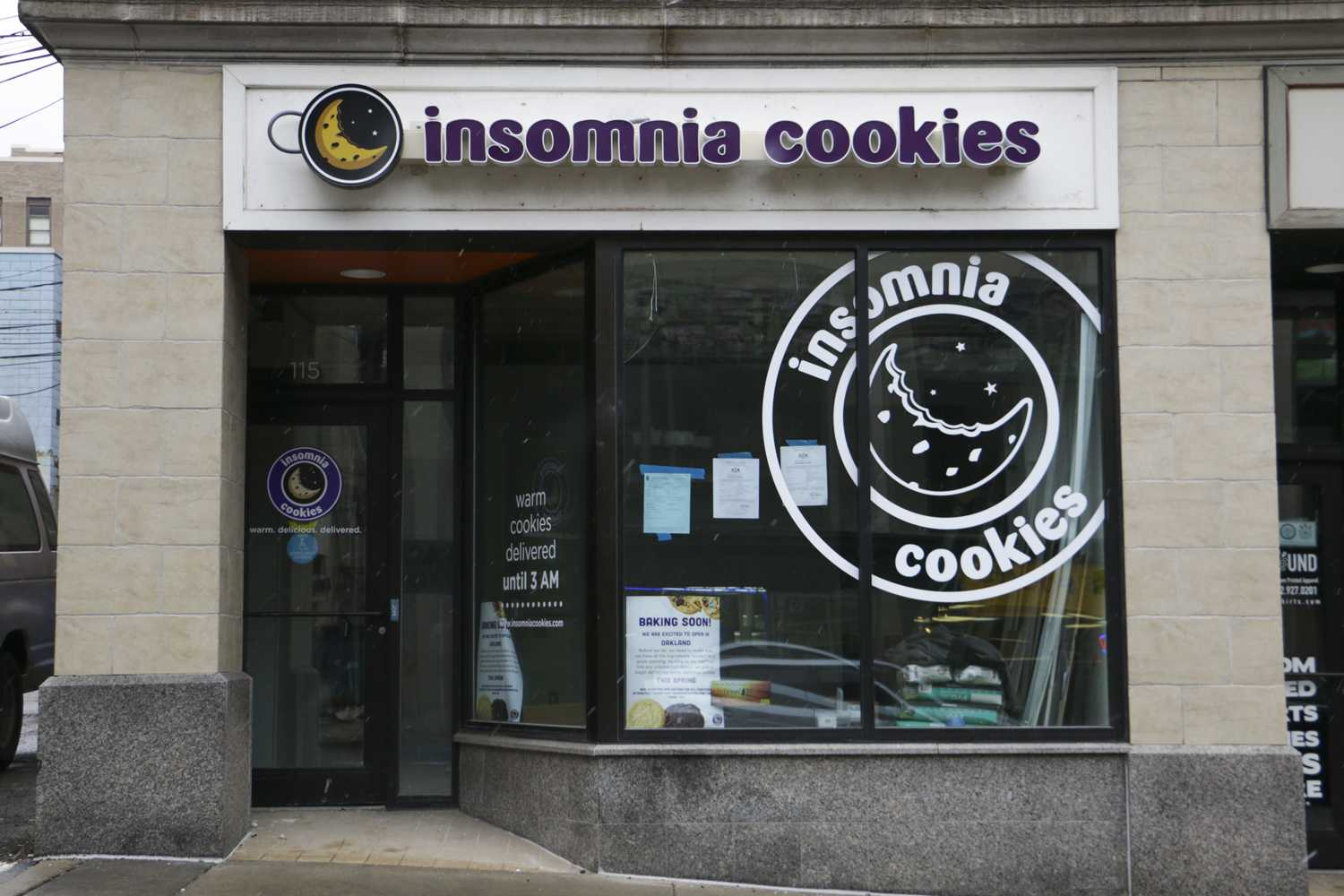 Popular food company Insomnia Cookies replaced Peace, Love and Little Donuts on Meyran Street. (Photo by Isabelle Glatts | Assistant Visual Editor)