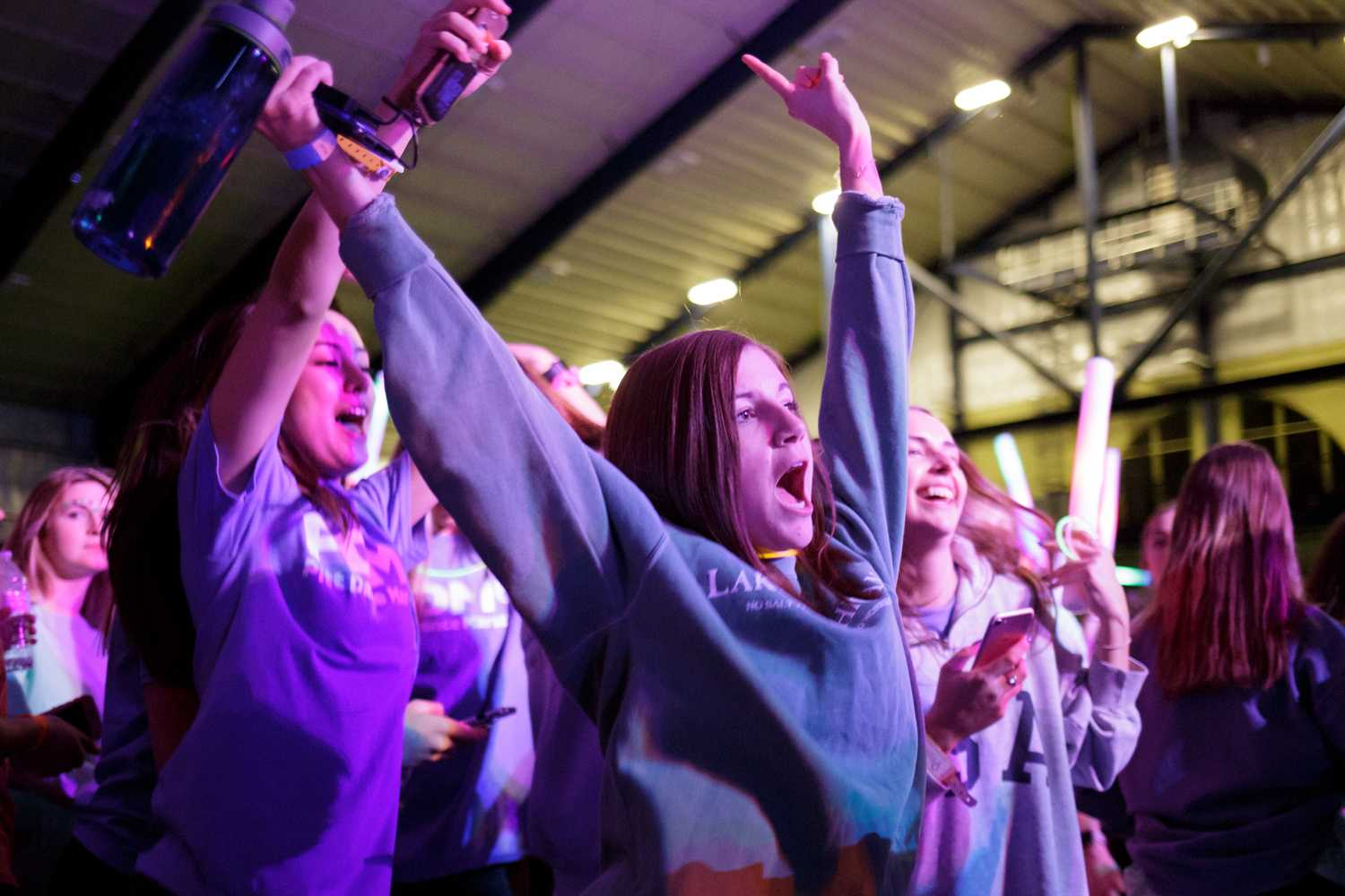 Students dance to techno music during the final hour of Saturday's Pitt Dance Marathon. (Photo by Thomas Yang | Visual Editor)