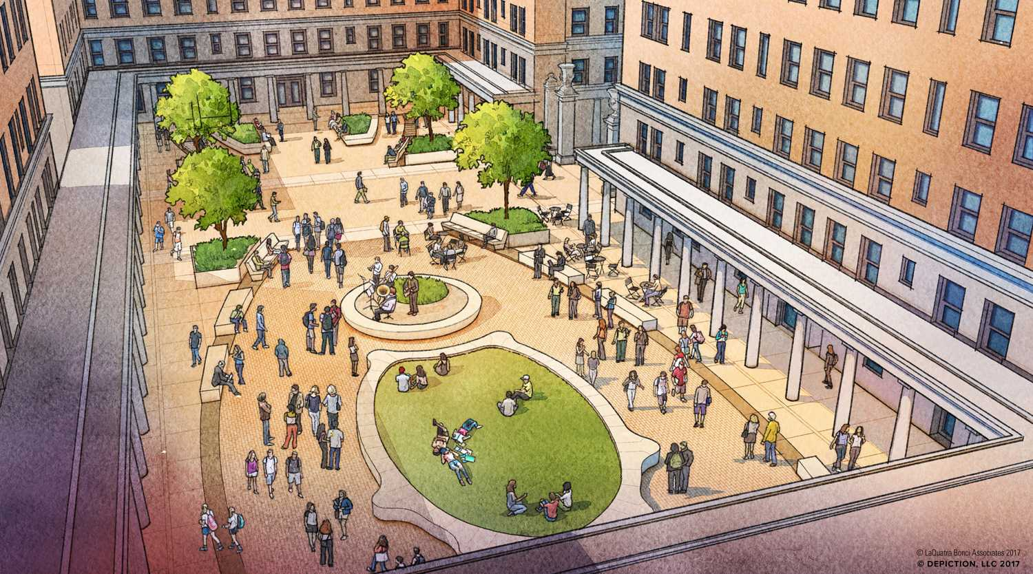 Sketch of planned updates to Schenley Quadrangle. (Image courtesy of Deborah Todd)