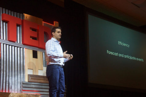 Konstantinos Pelechrinis, associate professor at the School of Computing and Information, discusses the future of smart city planning at Saturday's TEDx University of Pittsburgh event. (Photo courtesy of Ian Callahan)