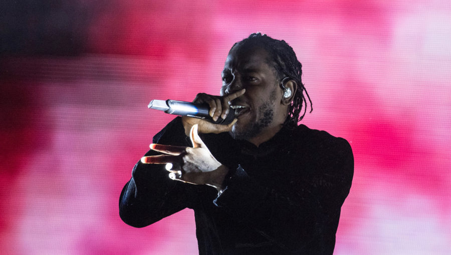 """Kendrick Lamar on stage at the Coachella Valley Music and Arts Festival April 23, 2017. Lamar won the 2018 Pulitzer Prize in Music for his album """"DAMN."""" (Brian van der Brug/Los Angeles Times/TNS)"""