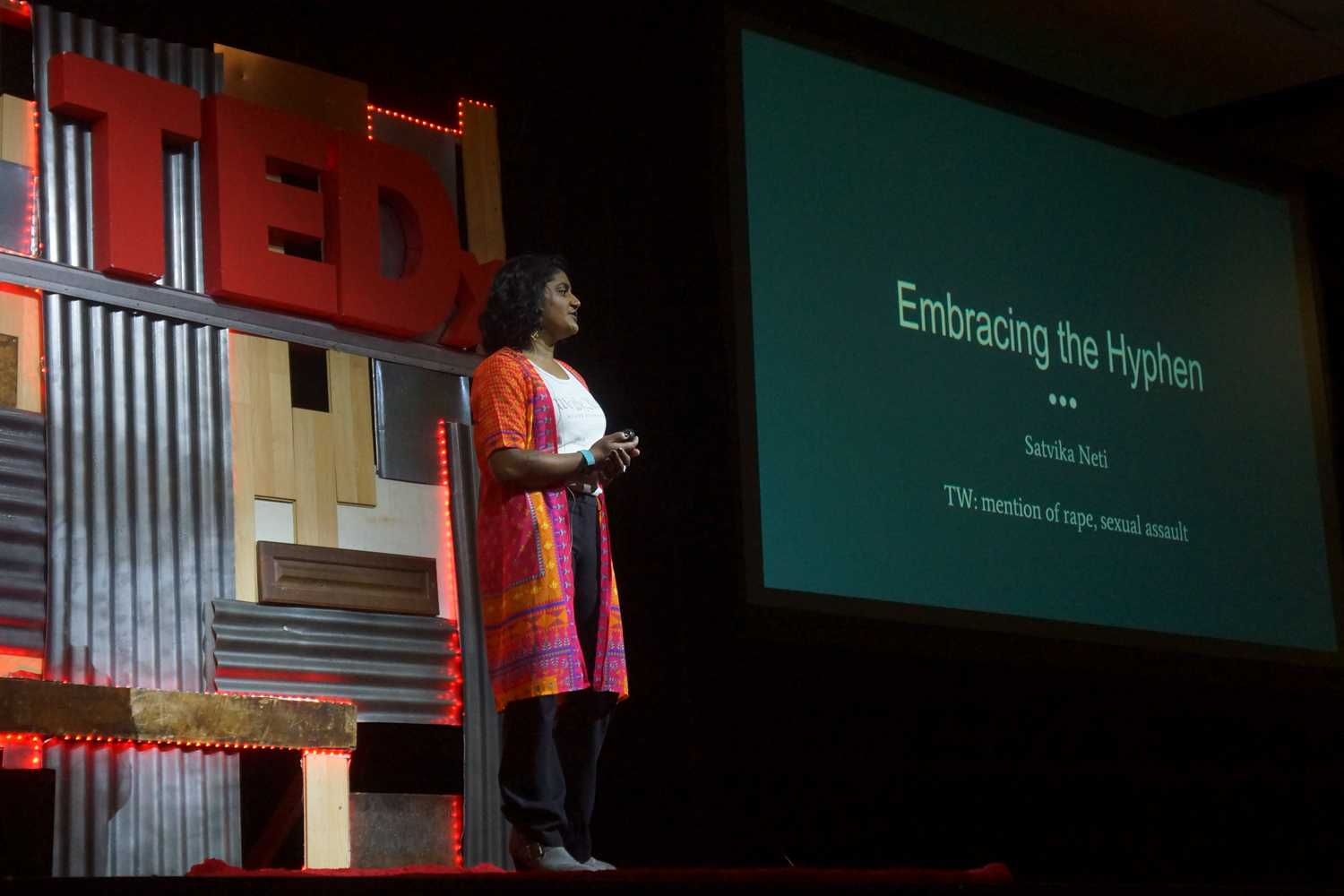 Satvika Neti discusses identity at Saturday's TEDx University of Pittsburgh event. (Photo courtesy of Ian Callahan)