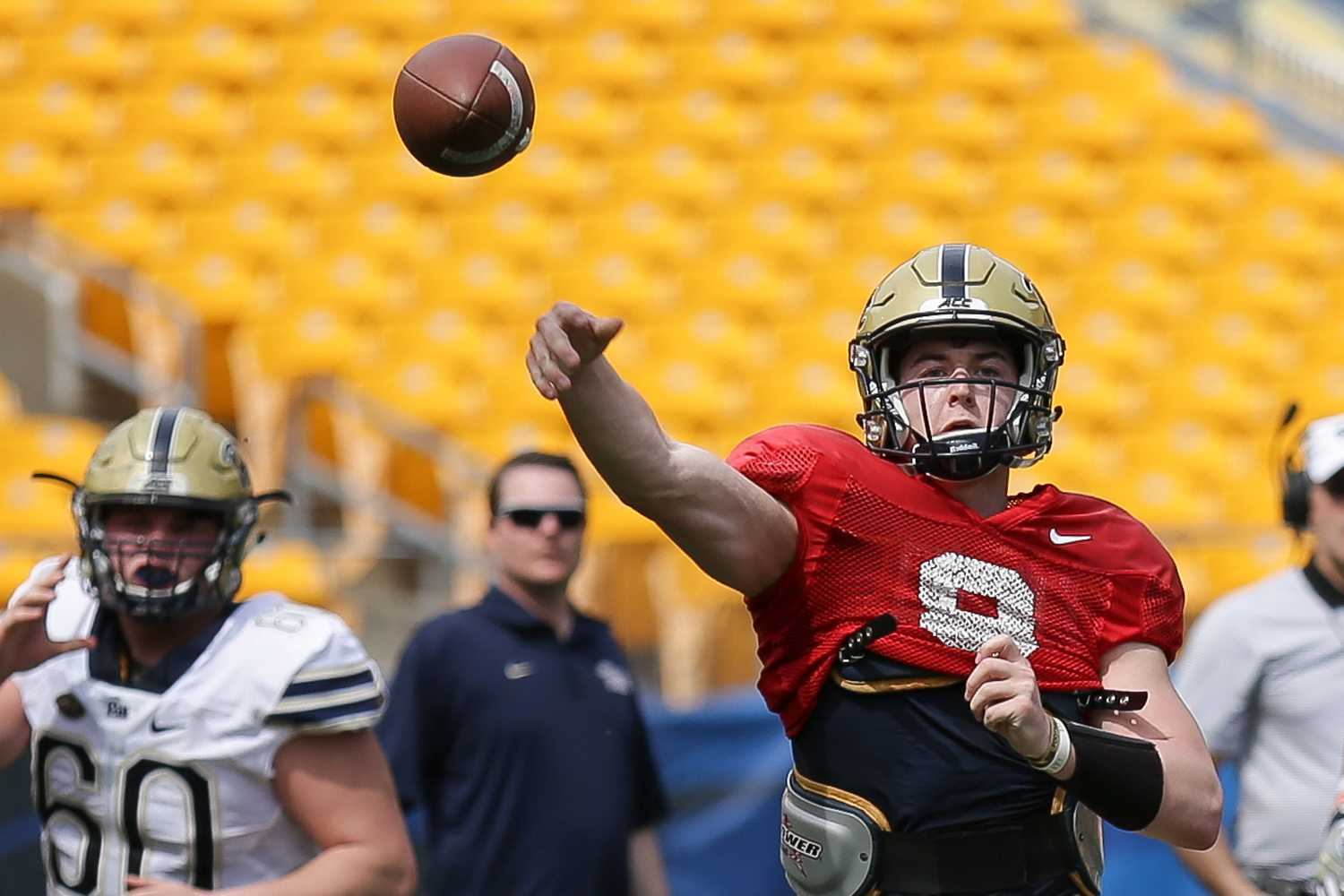 Sophomore quarterback Kenny Pickett completed 13 of 23 passes for 140 yards during Saturday's Blue and Gold game. (Photo by Thomas Yang | Visual Editor)
