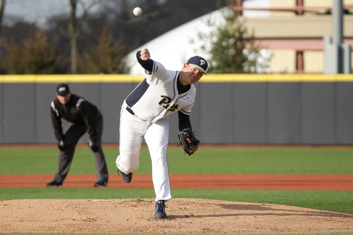 Redshirt freshman Derek West (46) surrendered one run on four hits and one walk to go with five strikeouts during Pitt's 2-0 loss to Kent State. (Photo by Thomas Yang | Visual Editor)