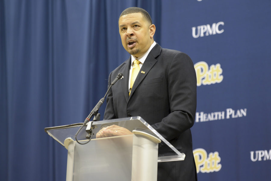 Jeff+Capel%2C+the+new+head+coach+of+the+Pitt+men%E2%80%99s+basketball+team%2C+previously+served+as+the+former+assistant+men%E2%80%99s+basketball+coach+for+seven+years+at+Duke.+%28Photo+by+Mackenzie+Rodrigues+%7C+Contributing+Editor%29+