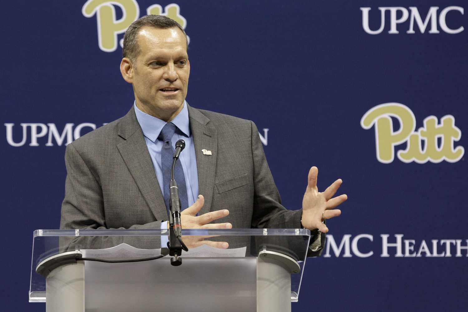 Pitt's new women's basketball head coach Lance White speaks at Thursday's press conference in the Petersen Events Center. (Photo by Anas Dighriri | Staff Photographer)