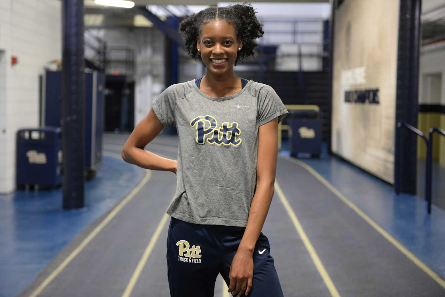 Senior Desiree Garland claimed Pitt's first gold medal in the 400-meter run at the ACC Indoor Championships this fall (Photo by Divyanka Bhatia | Staff Photographer)