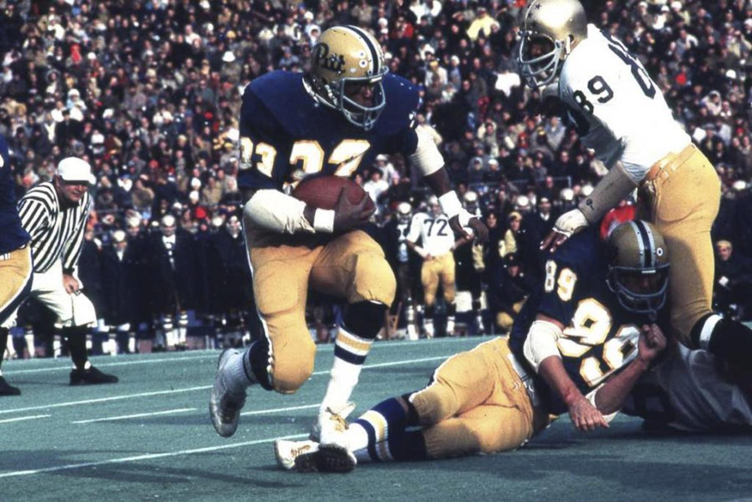 Tony Dorsett was a running back for Pitt from 1973 to 1976 and is the only Panther to have received the Heisman Trophy Award. (Photo courtesy of ULS Archives)