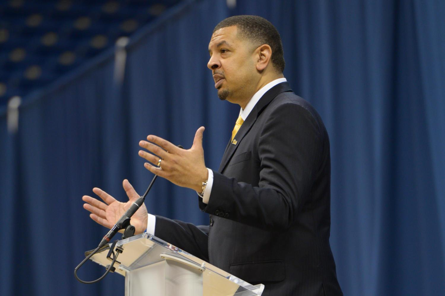 New head basketball coach Jeff Capel speaks at the Petersen Events Center Wednesday. (Photo by Mackenzie Rodrigues | Contributing Editor)