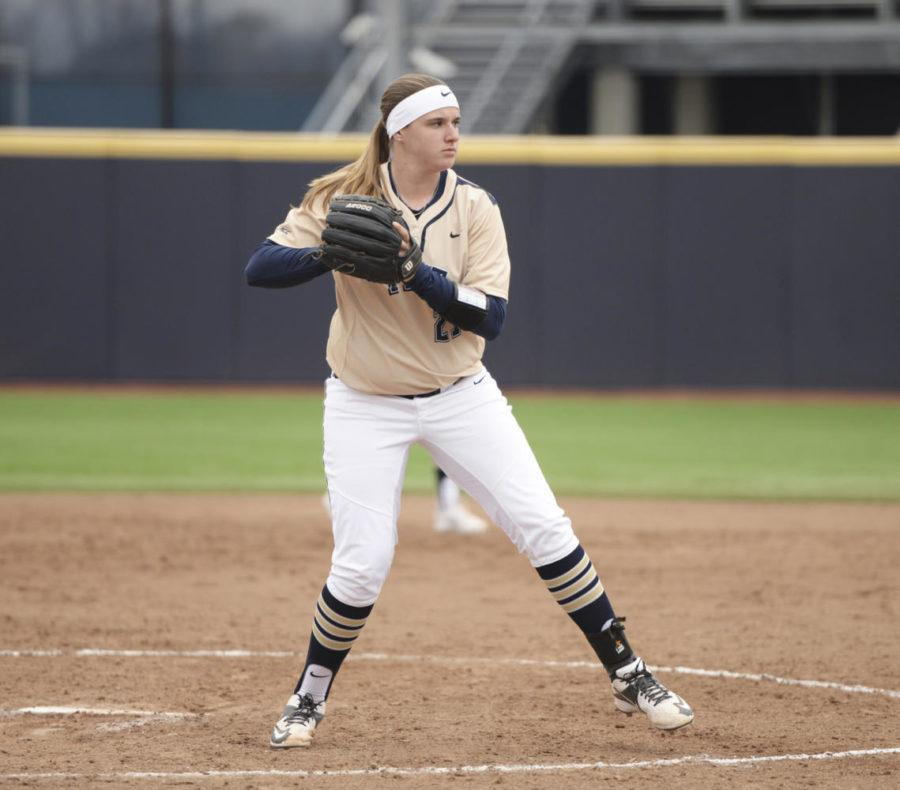 Kayla+Harris%2C+a+senior+starter+pitcher%2C+is+the+Pitt+softball+team%E2%80%99s+leading+pitcher+this+season.+%28Photo+by+John+Hamilton+%7C+Managing+Editor%29+