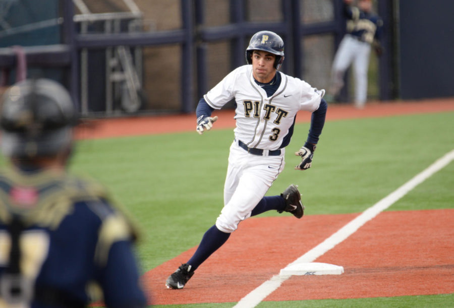 Redshirt senior outfielder Frank Maldonado finished the game with three hits at Pitt's 9-5 victory over Youngstown State. (TPN file photo)