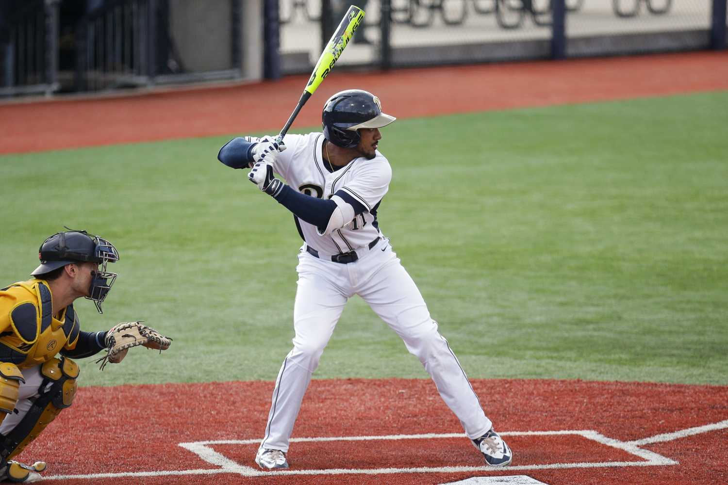 Redshirt junior Liam Sabino (11) contributed two hits and three RBIs during Pitt's 4-3 win over Georgia Tech Saturday. (Photo by Thomas Yang | Visual Editor)