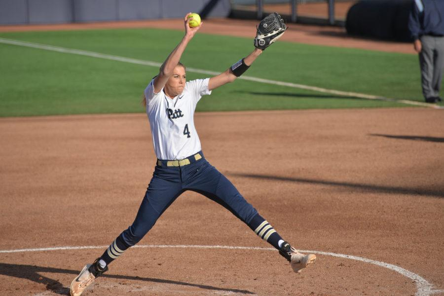 Junior pitcher Sarah Dawson (4) allowed only two runs during Pitt's 9-2 victory over Virginia Friday. (Photo by Kyleen Considine | Senior Staff Photographer)