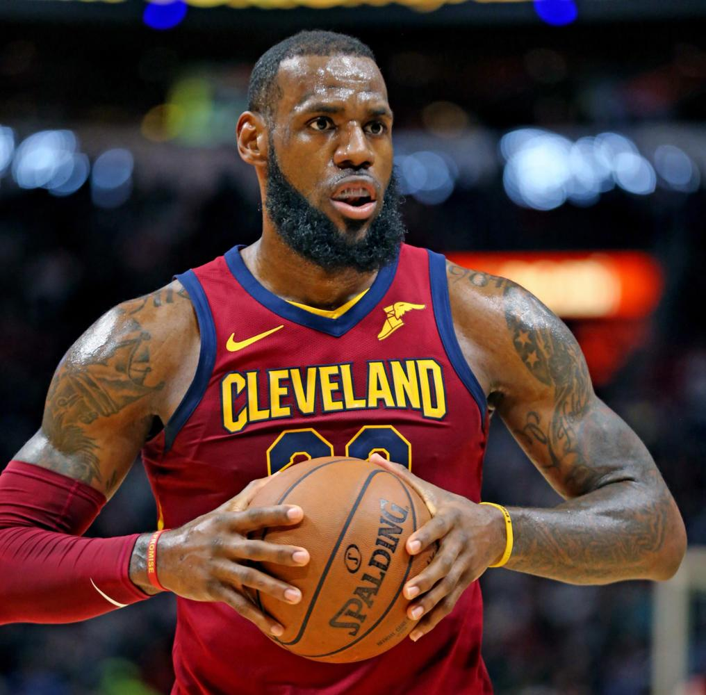 The Cleveland Cavaliers' LeBron James on the court against the Miami Heat in Miami March 27. (Charles Trainor Jr./Miami Herald/TNS)
