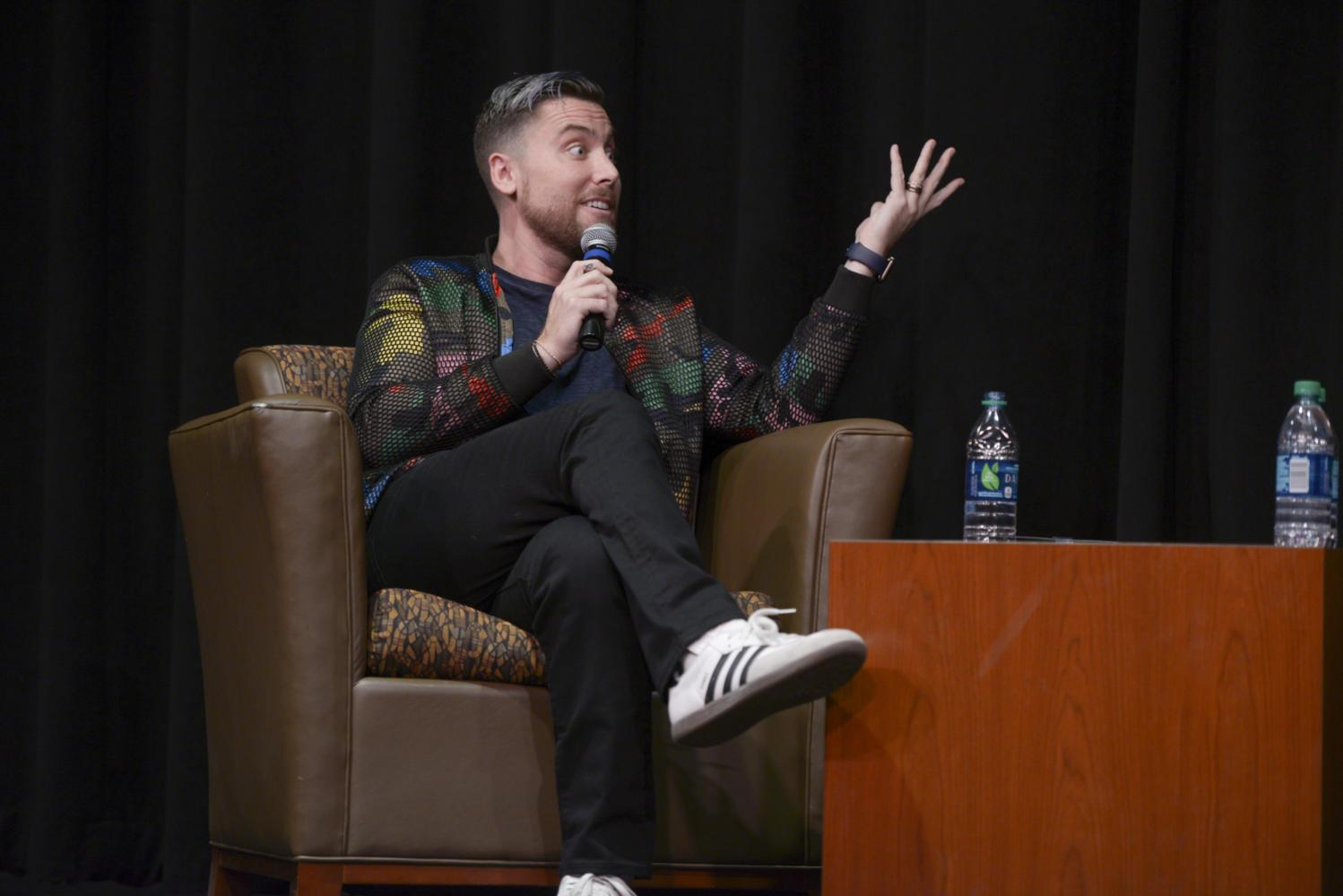 Musician and former NSYNC member Lance Bass discusses his experiences in the music industry as a part of Rainbow Alliance's Pride Week. (Photo by Divyanka Bhatia | Staff Photographer)