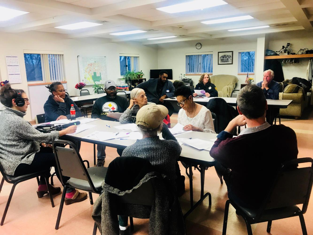 The first public meeting discussing the replacement of the Stephen Foster Memorial was held Tuesday in the McKinley Recreation Center in Beltzhoover. (Photo by Theresa Dickerson | Staff Writer)