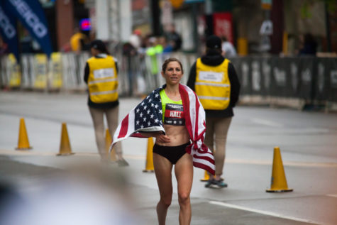 Sara Hall took third place in the USA Track and Field Championships. This year, Pittsburgh hosted the national event, which followed the Pittsburgh Half Marathon's course. (Photo by Jane Millard | Visual Editor)
