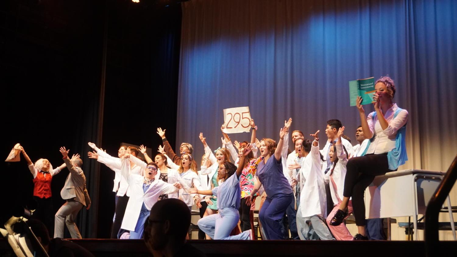 "Pittsburgh medical school students take a break from the classroom to perform in the annual Scope and Scalpel play. This year's production was ""Beauty and the Yeast Infection."" (Photo courtesy of Eddie Boyo)"