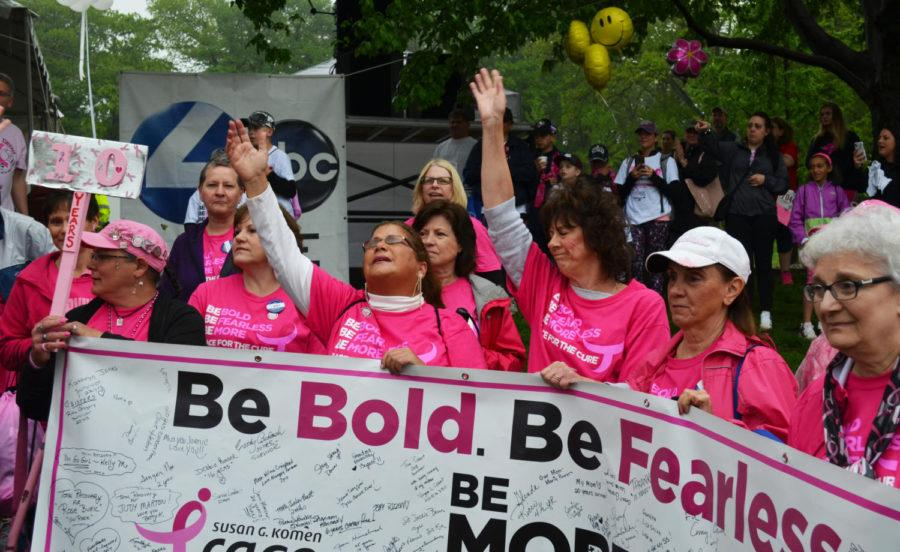 A+group+of+women+at+the+2018+Komen+Pittsburgh+Race+for+the+Cure+show+their+support+holding+a+banner+stating+the+event%E2%80%99s+motto%2C+%E2%80%9CBe+Bold.+Be+%0AFearless.+Be+More+Than+Pink.%E2%80%9D+%28Photo+by+Jon+Kunitsky+%7C+Staff+Photographer%29
