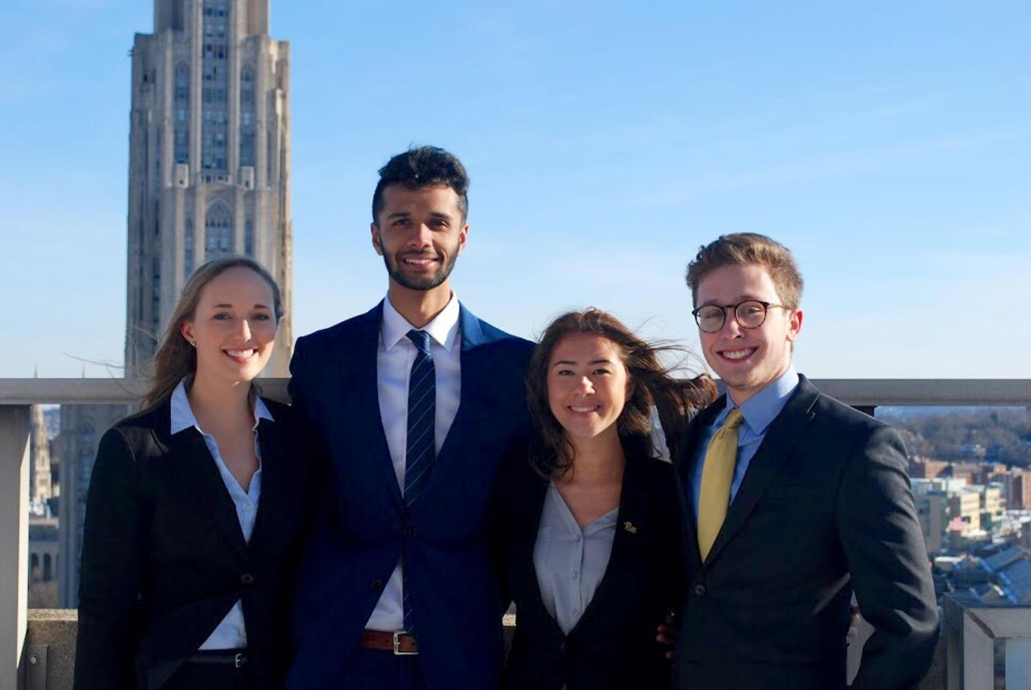 (Pictured left to right) SGB President Maggie Kennedy, Rajaab Nadeem, Jessa Chong and Cory Stillman. (Photo courtesy of Horizon)