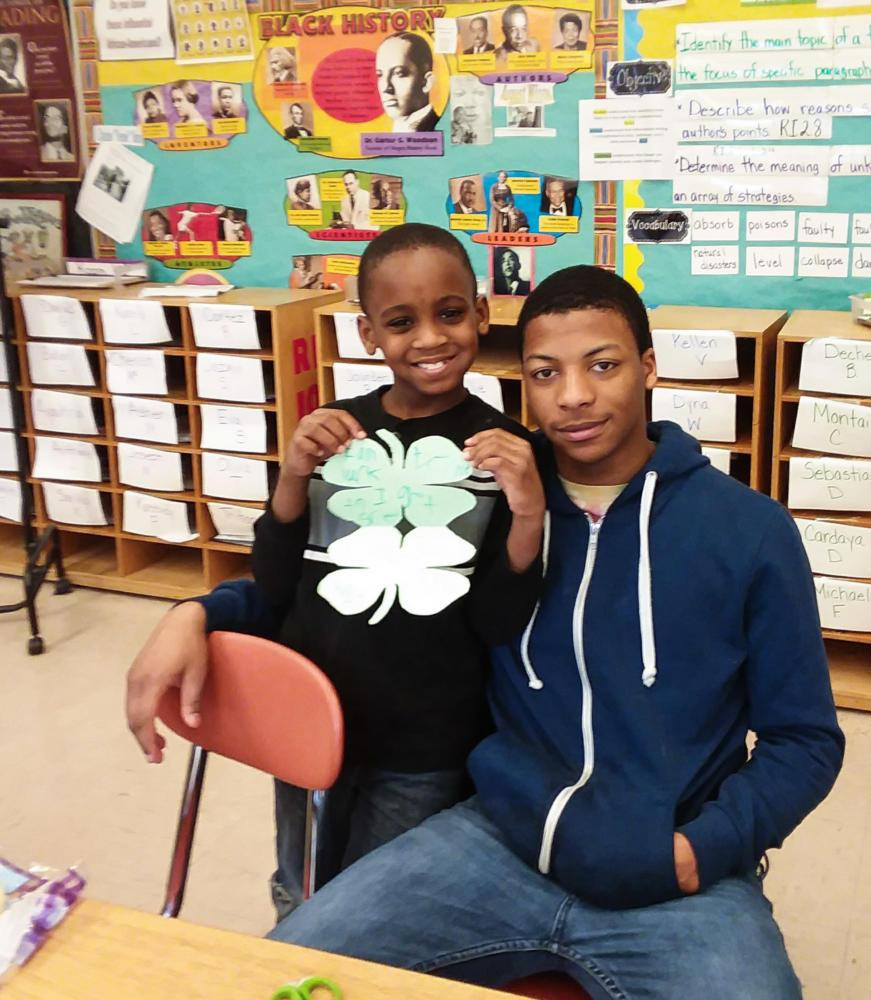 Pitt student Malcolm meets with his little, Chauncey, at school to play games.