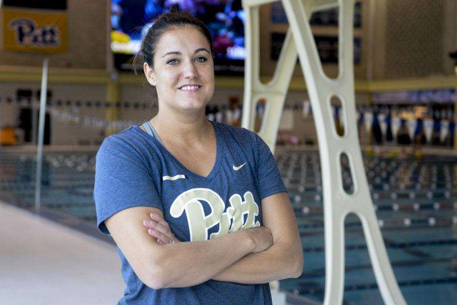 Katie Hazelton is the new head diving coach and brings her experience to Pitt after working for the 2012 London Olympic and Paralympic Games as diving technical operations manager. (Photo by Jordan Mondell | Contributing Editor)