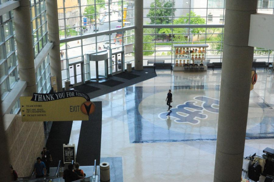 The new media studio will be in the main atrium, a high-traffic area where students will pass by frequently. (Photo by Anne Amundson | Staff Photographer)