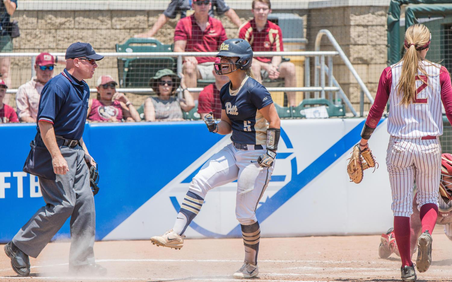Pitt Softball player Hunter Levesque celebrates the Panthers' success during their victory against Virginia Tech in the 2018 ACC Softball Tournament. (Photo courtesy of Delvin Jones)