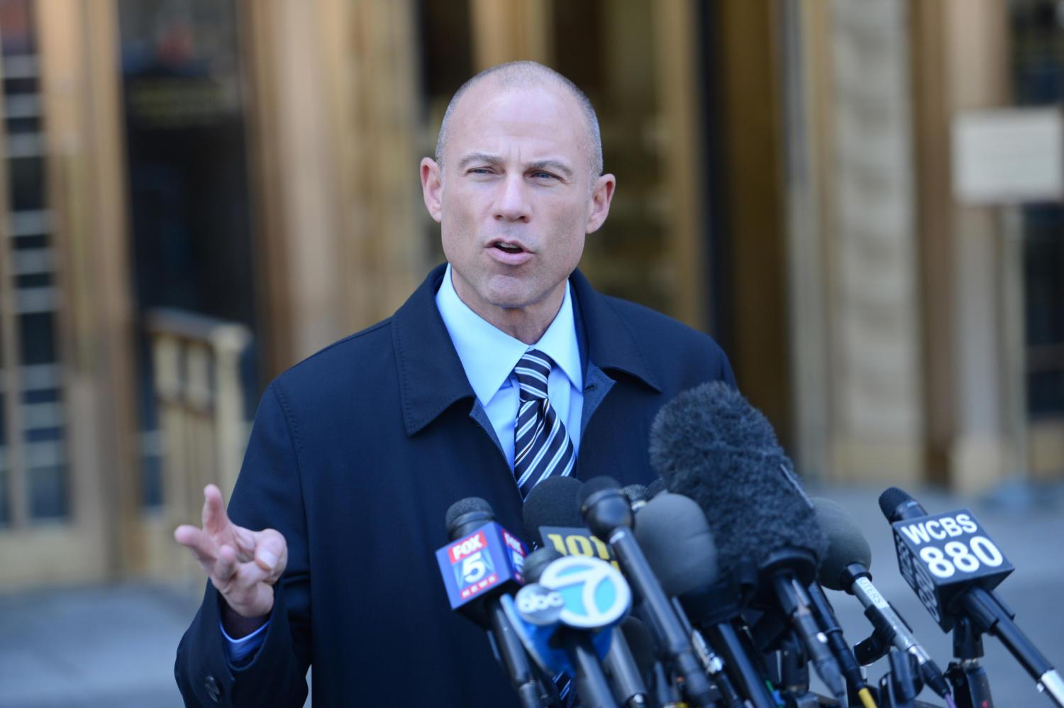 Stormy Daniels' attorney Michael Avenatti holds a press conference outside Federal Court after a hearing for Trump's attorney Michael Cohen at 500 Pearl Street in Manhattan on Thursday April 26, 2018. (Susan Watts/New York Daily News/TNS)