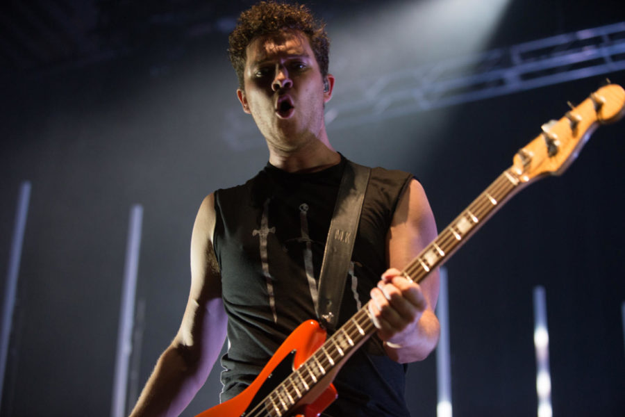 Mike Kerr, lead vocalist and bassist of the British rock group, Royal Blood, performs at Pittsburgh's Stage AE May 31. (Photo by Jane Millard | Staff Photographer)