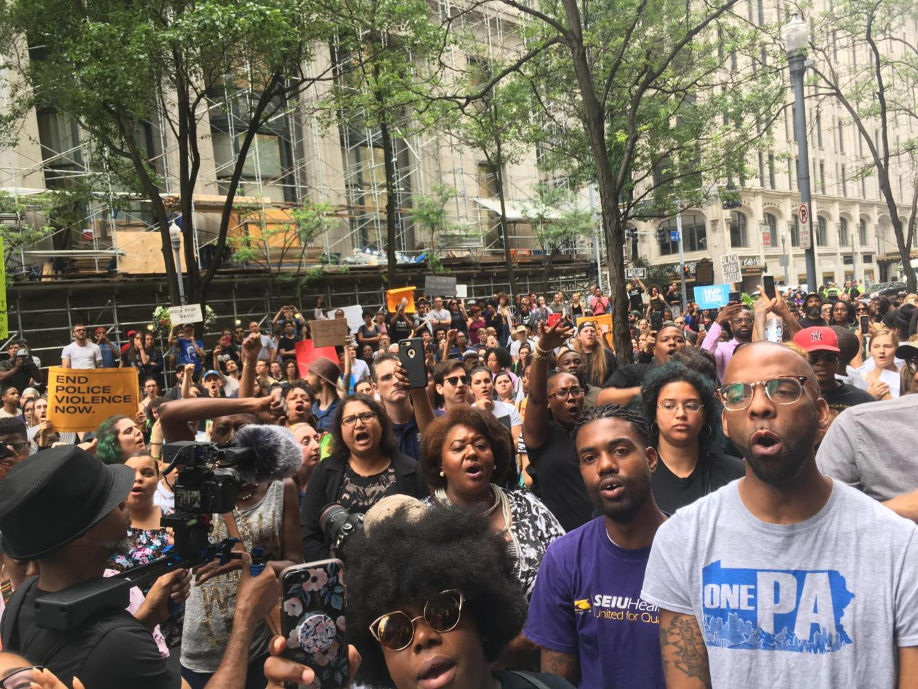 Protesters gathered outside the Allegheny County Courthouse in June to protest Antwon Rose's death. (TPN File Photo)