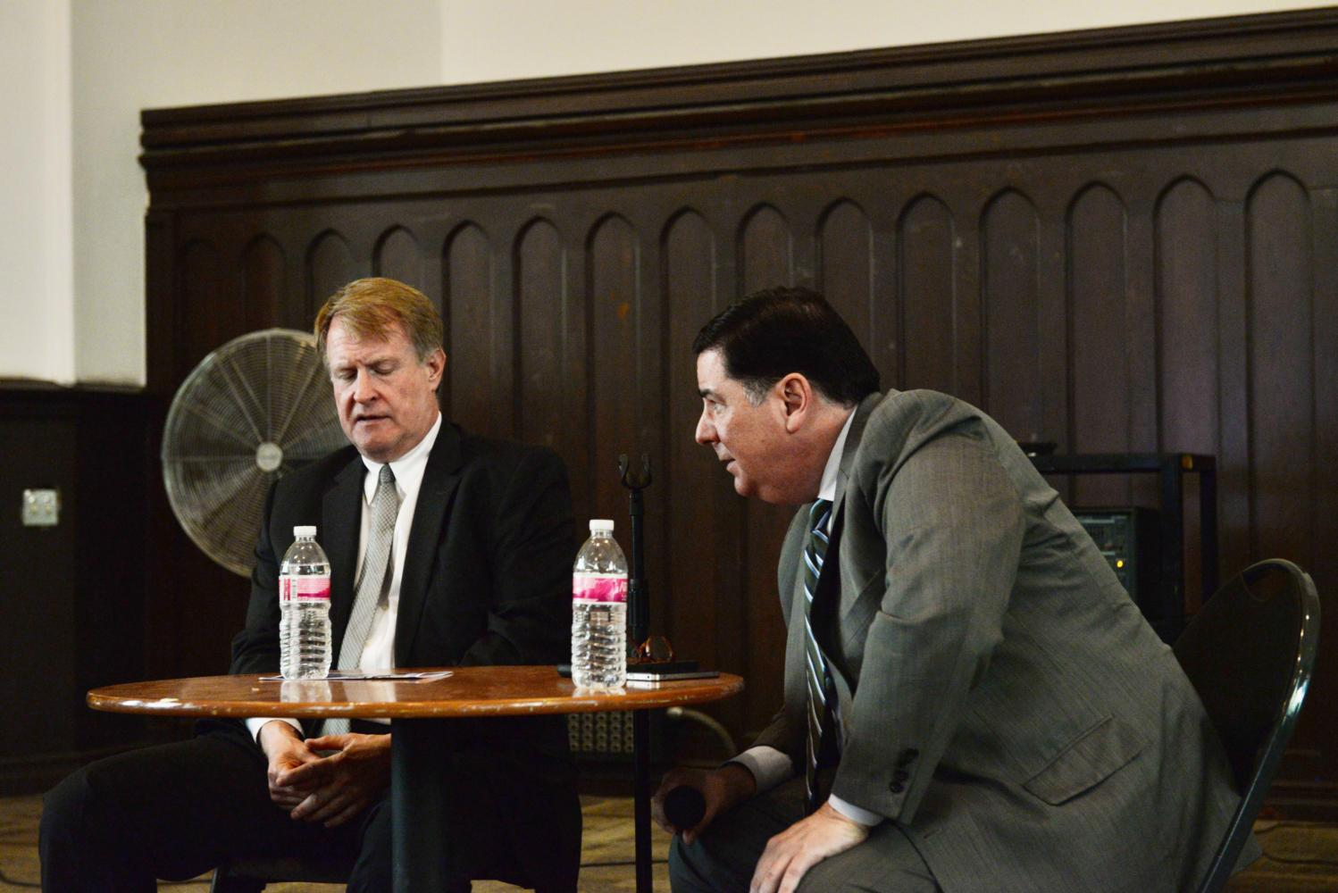 Alleghany County Executive Rich Fitzgerald and Mayor Bill Peduto discussed Amazon, small businesses and Beaver County's cracker plant in a town hall attended by 80 people Monday evening. (Photo by Jonathan Kunitsky | Staff Photographer)