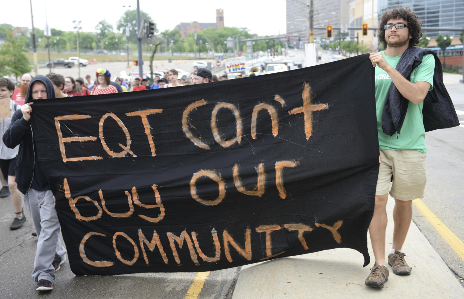 People's Pride was held in opposition to the annual pride festivities hosted by EQT — a Pittsburgh-based oil and natural gas company. (Photo by Jon Kunitsky | Staff Photographer)