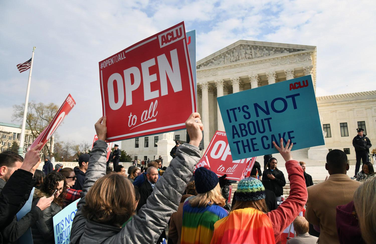 Protesters gathered in front of the Supreme Court building Dec. 5, 2017, the day the court was to hear the case Masterpiece Cakeshop v. Colorado Civil Rights Commission. The case was decided in favor of Masterpiece Cakeshop June 4, 2018. (Olivier Douliery/Abaca Press/TNS)