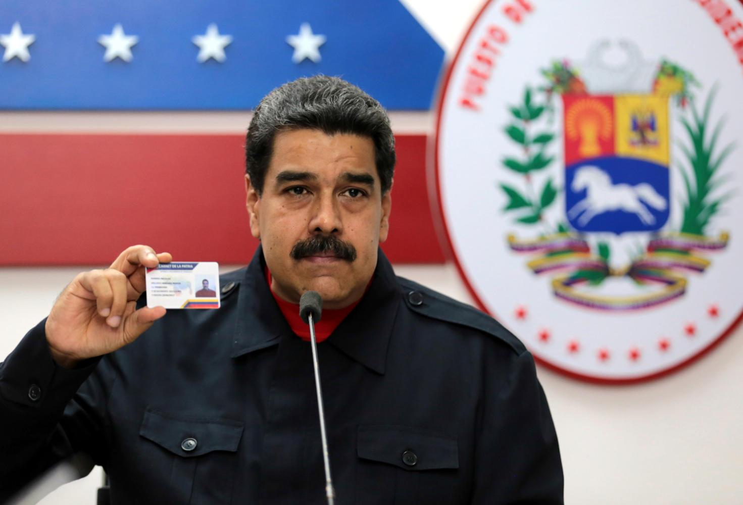 Venezuelan president Nicolas Maduro is pictured during a meeting at the Miraflores Palace in Caracas, Venezuela, on Oct. 15, 2017. The Trump administration imposed individual sanctions against 10 Venezuelans who are top allies of Maduro. (Xinhua/Venezuela's Presidency/Sipa USA/TNS)