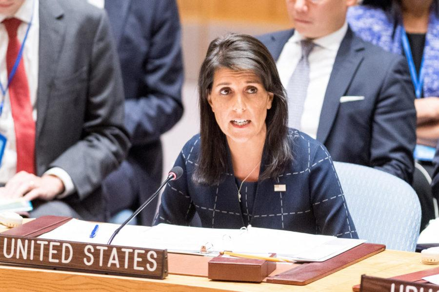 Nikki+Haley%2C+U.S.+Ambassador+to+the+United+Nations%2C+at+the+United+Nations+in+New+York+on+September+11%2C+2017.+%28Michael+Brochstein%2FSipa+USA%2FTNS%29