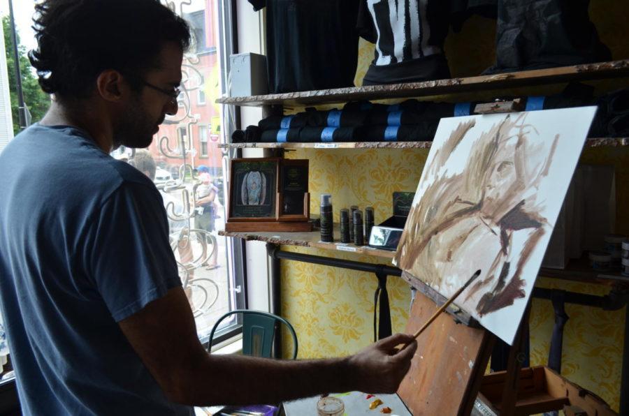 Artist+Shervin+Iranshahr+paints+a+portrait+of+Jeff+Goldblum+as+a+part+of+Friday%27s+Jeff+Goldblum+Day+festivities.+