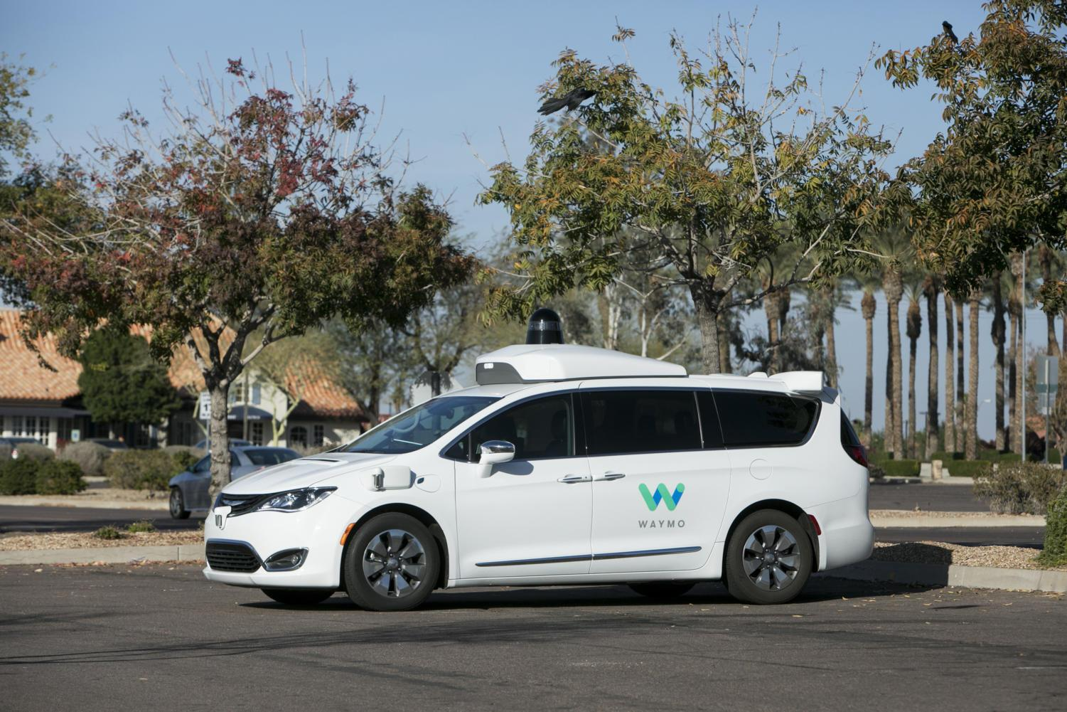 A Waymo self-driving autonomous vehicle in Tempe, Ariz., on February 3, 2018. (Kristoffer Tripplaar/Sipa USA/TNS)