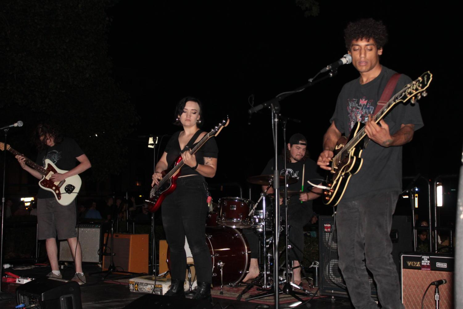 Punk band Sleeping Witch and Saturn perform at WPTS's Local Music Showcase on William Pitt Union lawn Thursday night. (Photo by Ben Hoover/courtesy of WPTS Radio)