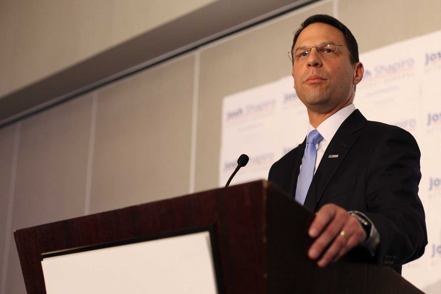 Pennsylvania Attorney General Joshua Shapiro discusses major areas of concern at the presentation of the 28th annual campus safety report Wednesday. (Margo Reed/Philadelphia Inquirer/TNS)